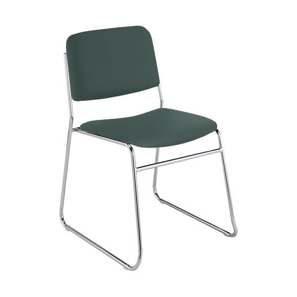 300 Stack Chair w/out Arm Rests - Vinyl Upholstered Seat - Hunter Green