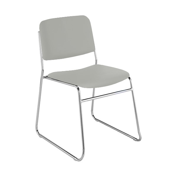 300 Stack Chair w/out Arm Rests - Vinyl Upholstered Seat - Light Gray