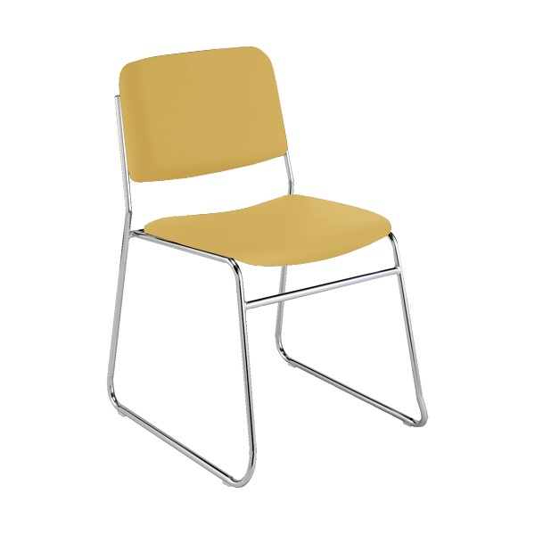 300 Stack Chair w/out Arm Rests - Vinyl Upholstered Seat - Yellow