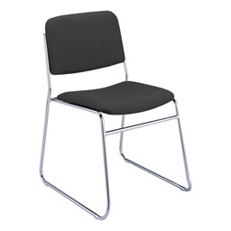 300 Stacking Chair w/out Arm Rests - Fabric Upholstered Seat - Black
