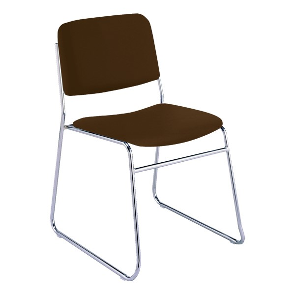 300 Stacking Chair w/out Arm Rests - Fabric Upholstered Seat - Brown