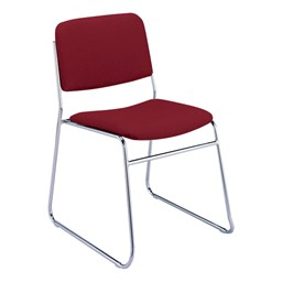300 Stacking Chair w/out Arm Rests - Fabric Upholstered Seat - Cabernet