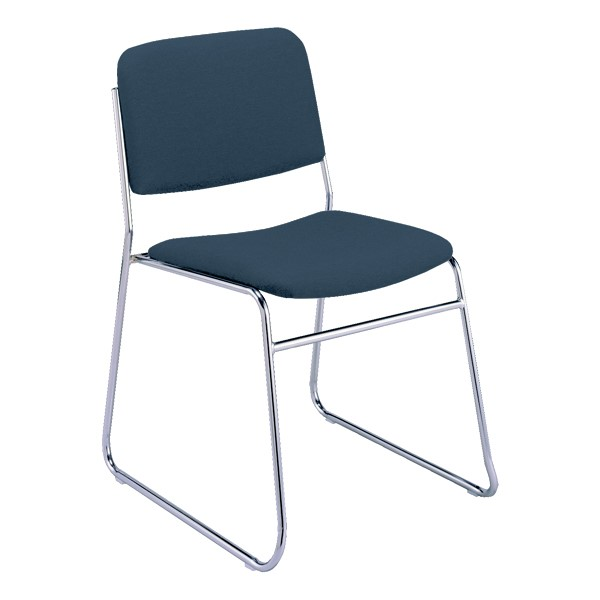 300 Stacking Chair w/out Arm Rests - Fabric Upholstered Seat - Navy