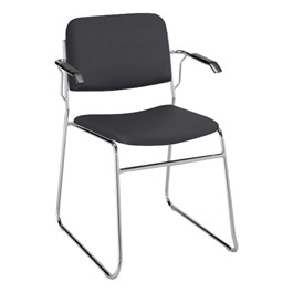 300 Stack Chair w/ Arm Rests - Vinyl Upholstered Seat - Black