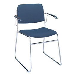 300 Stack Chair w/ Arm Rests - Fabric  Upholstered Seat - Denim