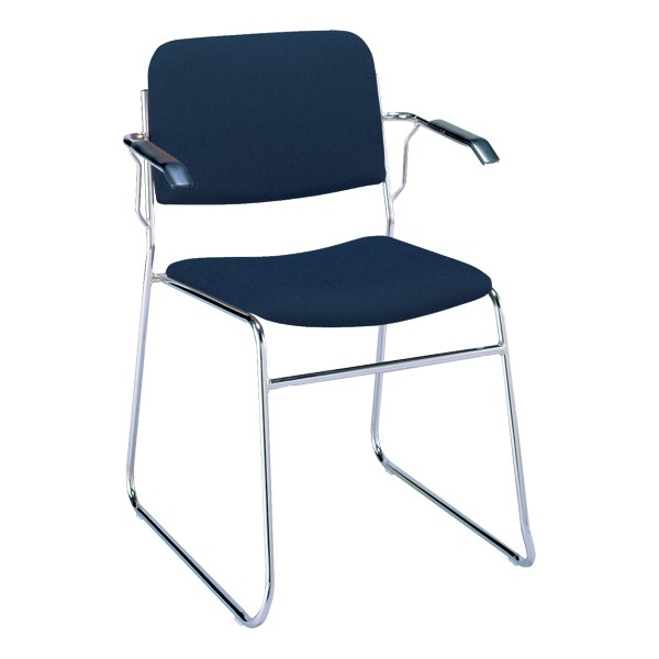 300 Stack Chair w/ Arm Rests - Fabric  Upholstered Seat - Navy