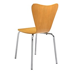 Contemporary Wood Stack Chair - Natural - Back view