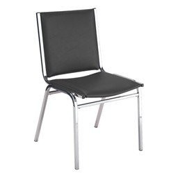 400 Stack Chair w/out Arm Rests - Vinyl Upholstered - Black w/ chrome frame