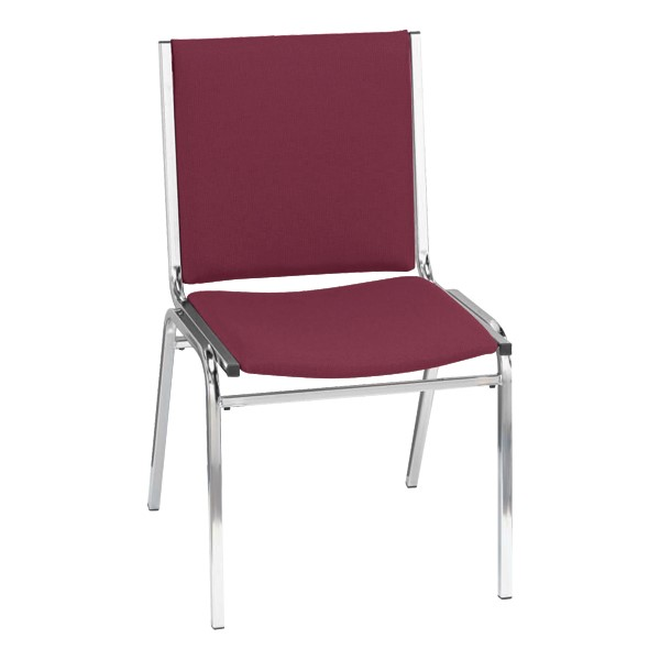 400 Stack Chair w/out Arm Rests - Fabric Upholstered - Cabernet w/ chrome frame