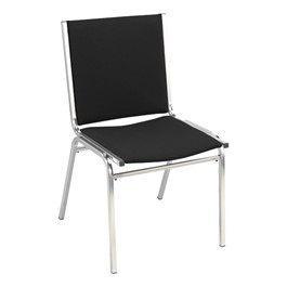 400 Stack Chair w/out Arm Rests - Fabric Upholstered - Black w/ chrome frame