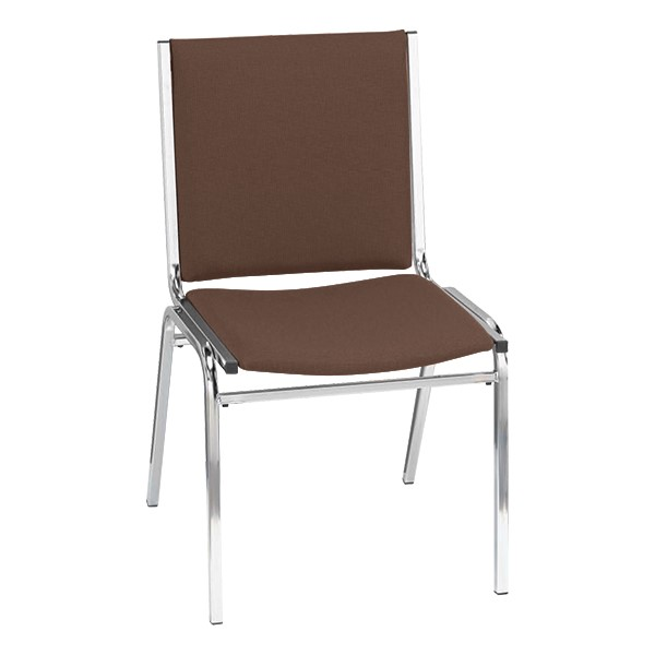 400 Stack Chair w/out Arm Rests - Fabric Upholstered - Brown w/ chrome frame