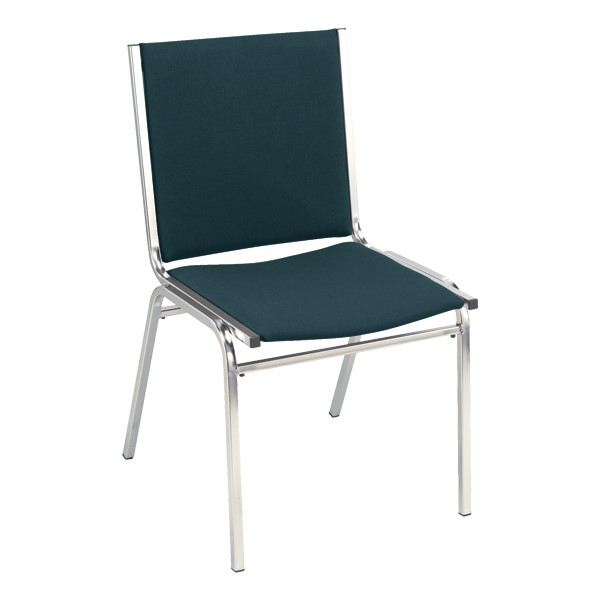 400 Stack Chair w/out Arm Rests - Fabric Upholstered - Denim w/ chrome frame