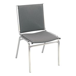 400 Stack Chair w/out Arm Rests - Fabric Upholstered - Gray w/ chrome frame