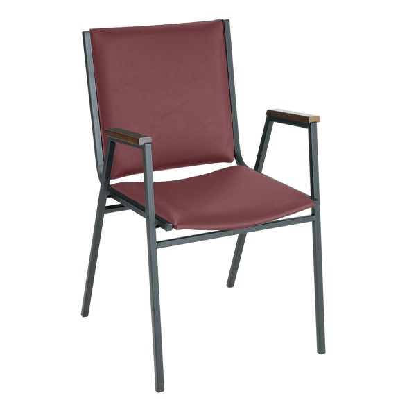 400 Stackable Chair w/ Arm Rests - Vinyl Upholstered - Port w/ Sandtex black frame