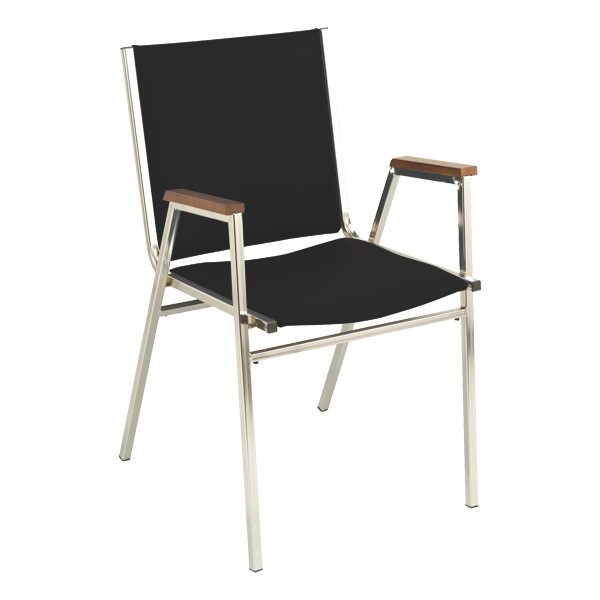 400 Stackable Chair w/ Arm Rests - Vinyl Upholstered - Black w/ chrome frame