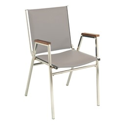400 Stackable Chair w/ Arm Rests - Vinyl Upholstered - Light gray w/ chrome frame
