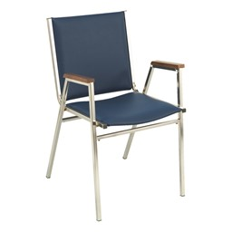 400 Stackable Chair w/ Arm Rests - Vinyl Upholstered - Navy w/ chrome frame