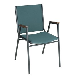 400 Stack Chair w/ Arm Rests - Fabric Upholstered - Denim w/ Sandtex black frame