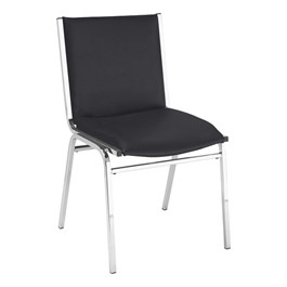 420 Stack Chair w/ out Arm Rests - Vinyl Upholstered Seat - Black vinyl w/ Chrome frame