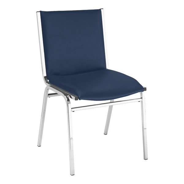 420 Stack Chair w/ out Arm Rests - Vinyl Upholstered Seat - Navy vinyl w/ Chrome frame
