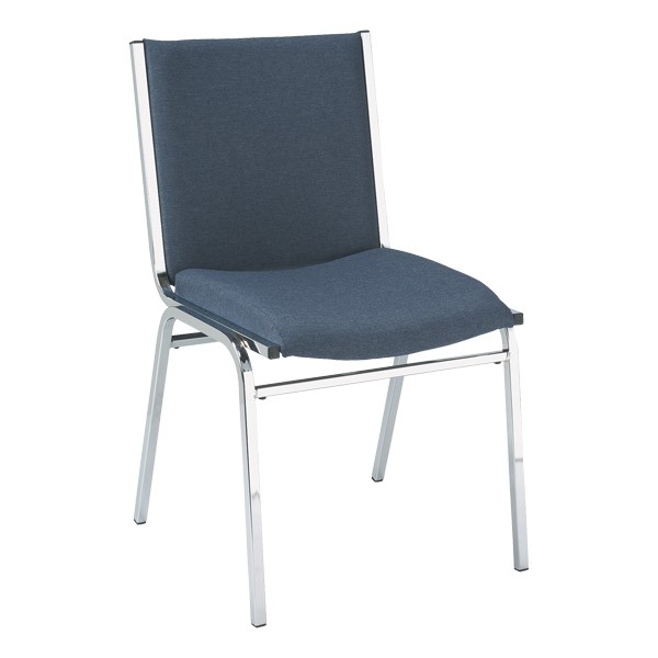 420 Stackable Chair w/ out Arm Rests - Fabric Upholstered Seat - Denim fabric w/ Chrome frame