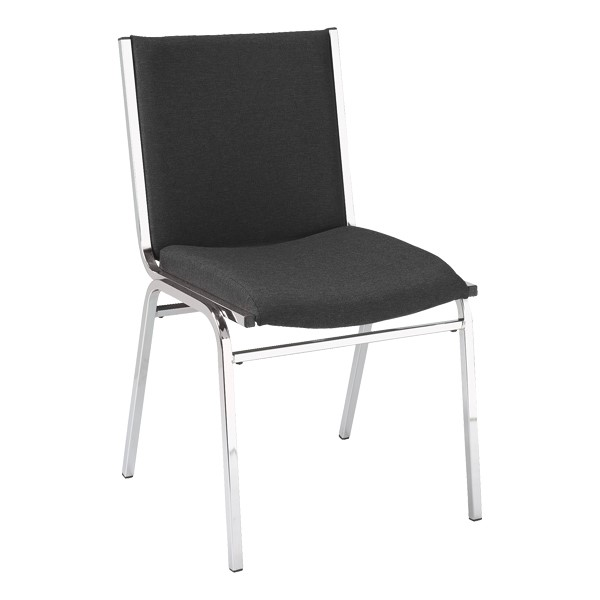 420 Stackable Chair w/ out Arm Rests - Fabric Upholstered Seat - Black fabric w/ Chrome frame