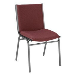 420 Stackable Chair w/ out Arm Rests - Fabric Upholstered Seat - Cabernet fabric w/ Black frame