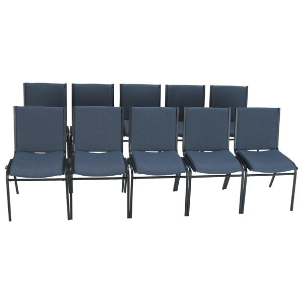 420 Stackable Chair w/ out Arm Rests - Fabric Upholstered Seat - Denim fabric w/ Black frame