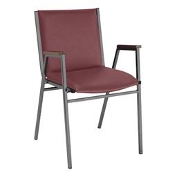 420 Stack Chair w/ Arm Rests - Vinyl Upholstered Seat - Port vinyl w/ Black frame