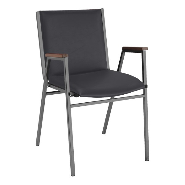 420 Stack Chair w/ Arm Rests - Vinyl Upholstered Seat - Black vinyl w/ Black frame