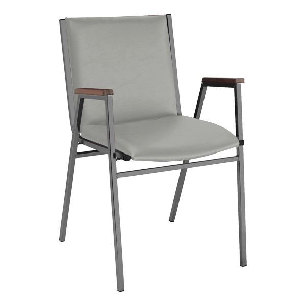 420 Stack Chair w/ Arm Rests - Vinyl Upholstered Seat - Light Gray vinyl w/ Black frame