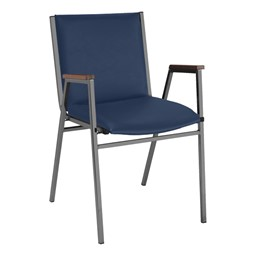 420 Stack Chair w/ Arm Rests - Vinyl Upholstered Seat - Navy vinyl w/ Black frame