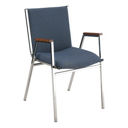 420 Stack Chair w/ Arm Rests - Fabric Upholstered Seat - Denim fabric w/ Chrome frame