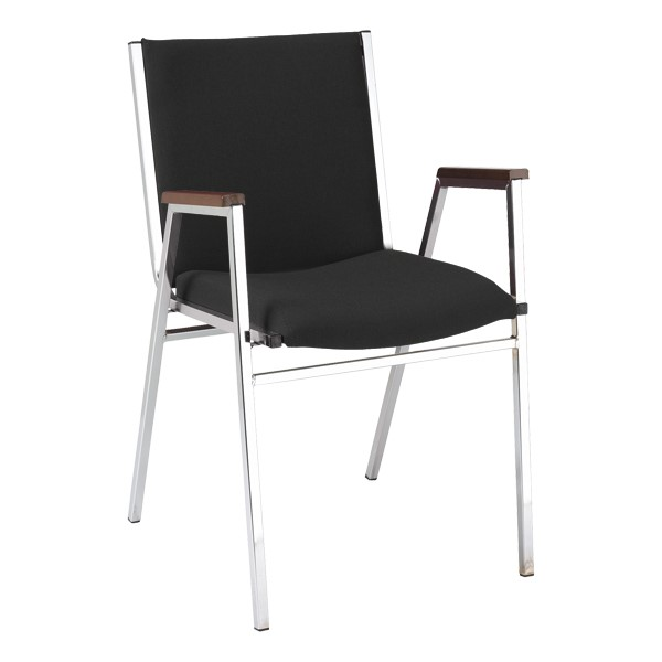 420 Stack Chair w/ Arm Rests - Fabric Upholstered Seat - Black fabric w/ Chrome frame