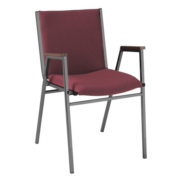 420 Stack Chair w/ Arm Rests - Fabric Upholstered Seat - Cabernet w/ Black frame