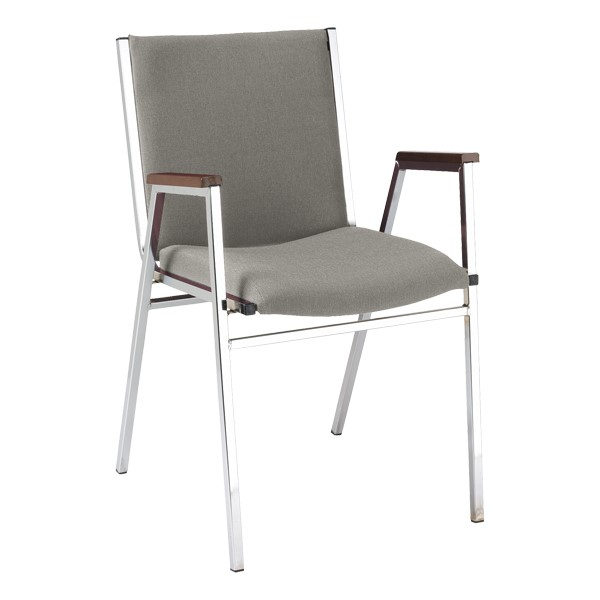 420 Stack Chair w/ Arm Rests - Fabric Upholstered Seat - Gray fabric w/ Chrome frame