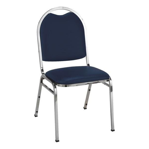 510 Stack Chair - Navy vinyl w/ Chrome frame