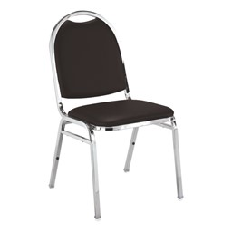 510 Stack Chair - Black vinyl w/ Chrome frame