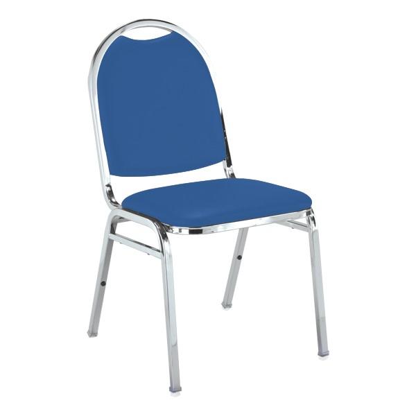 510 Stack Chair - Blue vinyl w/ Chrome frame