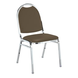 510 Stack Chair - Brown vinyl w/ Chrome frame