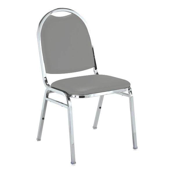 510 Stack Chair - Gray vinyl w/ Chrome frame