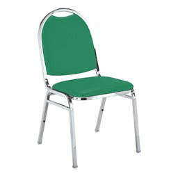 510 Stack Chair - Primary Green vinyl w/ Chrome frame