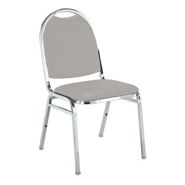510 Stack Chair - Light Gray vinyl w/ Chrome frame