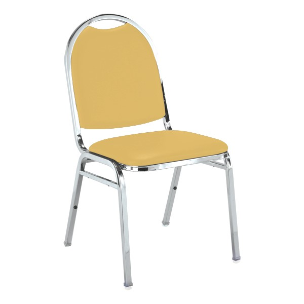 510 Stack Chair - Yellow vinyl w/ Chrome frame