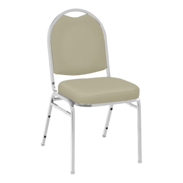 520 Banquet Stack Chair - Vinyl Upholstered Seat - Almond vinyl w/ Chrome frame