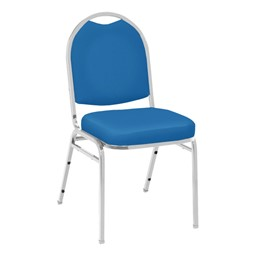 520 Banquet Stack Chair - Vinyl Upholstered Seat - Blue vinyl w/ Chrome frame