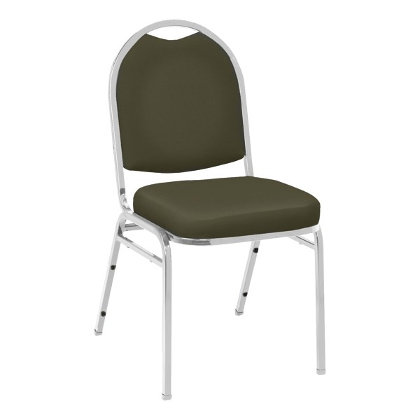 520 Banquet Stack Chair - Vinyl Upholstered Seat - Brown vinyl w/ Chrome frame