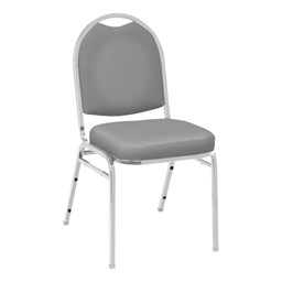 520 Banquet Stack Chair - Vinyl Upholstered Seat - Gray vinyl w/ Chrome frame