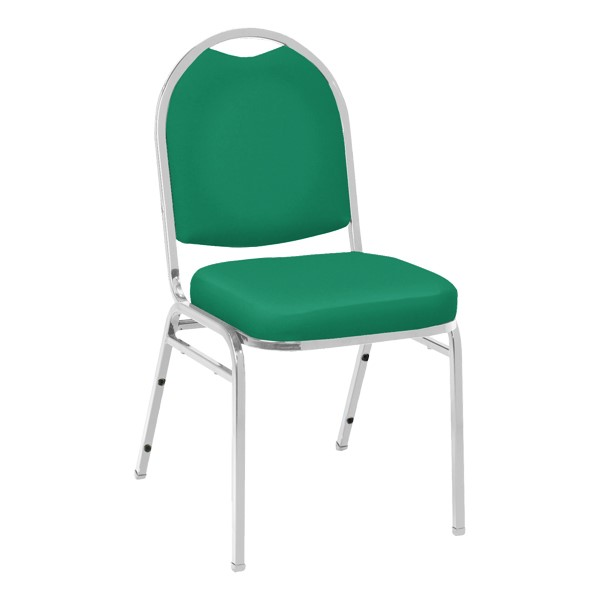 520 Banquet Stack Chair - Vinyl Upholstered Seat - Primary Green vinyl w/ Chrome frame