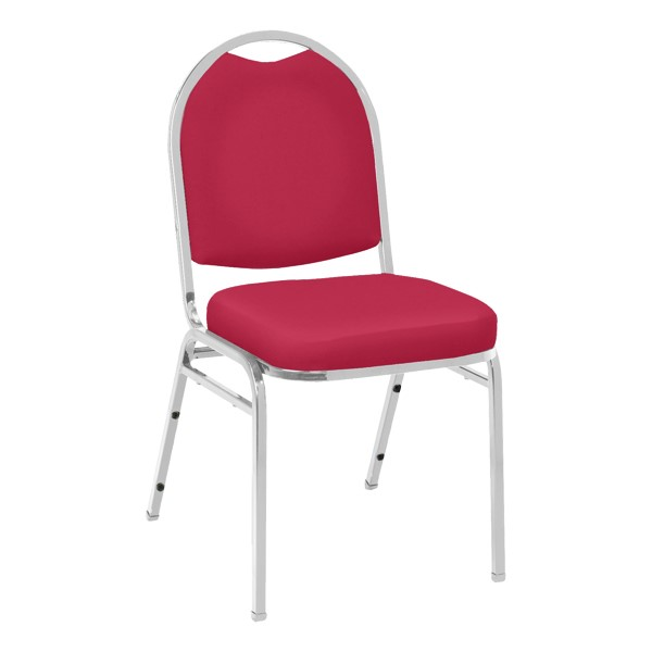 520 Banquet Stack Chair - Vinyl Upholstered Seat - Red vinyl w/ Chrome frame
